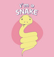 cute cartoon style snake with title above on vector image
