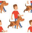 cute dogs and people vector image