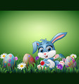 cute little rabbit cartoon with decorated easter e vector image vector image