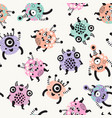 cute monsters with big eyes open mouths background vector image