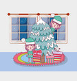 cute santa helpers with pine tree in the house vector image vector image
