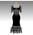elegant black dress with lace vector image vector image