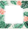 exotic tropical square border frame beige camelia vector image vector image