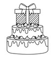 gift box present with sweet cake vector image