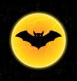 halloween bat fly and moon vector image vector image