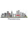 hangzhou china city skyline with gray buildings vector image vector image