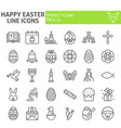 happy easter line icon set spring holiday symbols vector image