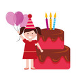 happy girl birthday cake with candles and balloons vector image vector image