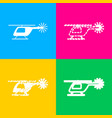 helicopter sign four styles of icon vector image