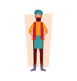 indian man in traditional clothes standing with vector image
