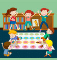 kids playing twister in room vector image vector image