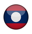 laos flag in glossy round button of icon laos vector image
