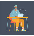man working late night vector image vector image