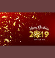 merry christmas and 2019 happy new year vector image vector image