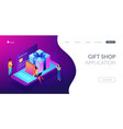 online gift purchase isometric 3d landing page vector image vector image