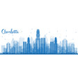 outline charlotte north carolina skyline with vector image