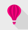 pink hot air balloon icon flat style vector image