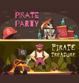 pirate horizontal banners set vector image