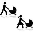 Pushing a stroller vector image