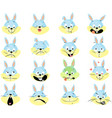 rabbit emoticon - simple fat design vector image