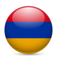 Round glossy icon of armenia vector image
