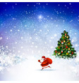 santa claus on the winter landscape vector image