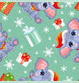 seamless pattern with baby christmas elephant