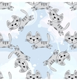 seamless pattern with cute kittens on a vector image vector image