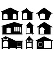 set different dog houses vector image vector image