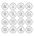 set of dental related round line icons vector image