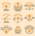 set of honey emblems design element for logo vector image vector image