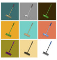 set of icons in flat design rake vector image vector image