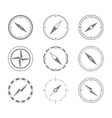 set of monochrome icons with compass vector image