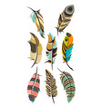 set of multicolored feathers isolated vector image