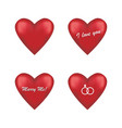 set of round red hearts vector image vector image