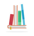 stacked books in a row flat isolated vector image