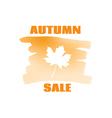 Text autumn sale on leaf background vector image vector image