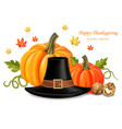 thanksgiving card with traditional hat vector image vector image