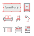 Thin line icons set furniture vector image