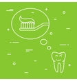 Tooth thinks about toothbrush with toothpaste vector image vector image