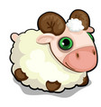 toy sheep with green eyes isolated on white vector image vector image