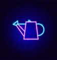 watering pot neon sign vector image vector image