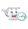 with clock shower curtains in the character vector image