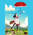 woman holding an umbrella flying in the air vector image