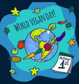 world vegan day concept background hand drawn vector image