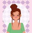 young woman hispanic culture cartoon portrait vector image