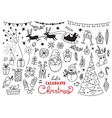 Christmas doodle set of characters and decorations vector image