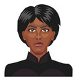 african girl with a short black hair on white vector image vector image