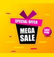 banner mega sale black gift box says mega sale vector image vector image