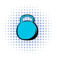 Black kettlebell icon comics style vector image vector image